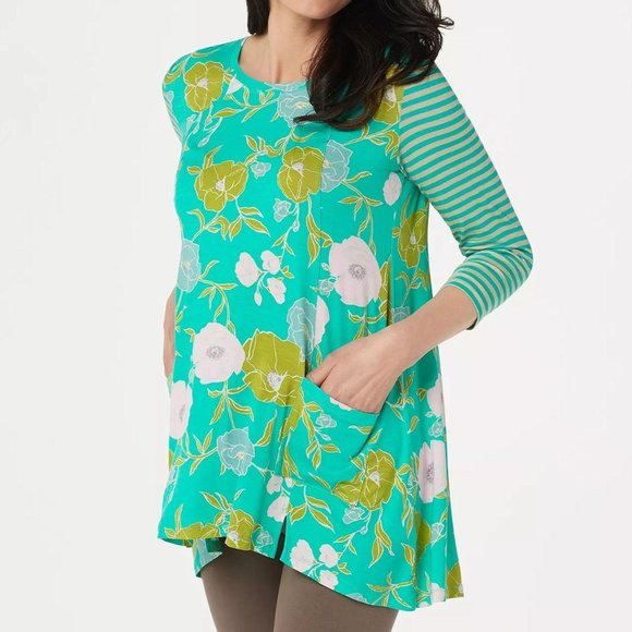 LOGO by Lori Goldstein Printed Knit Top with Strip